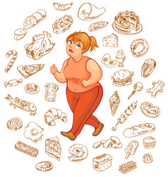 fat woman dreams of high-calorie foods vector image