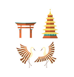 Flat japanese pagoda crane and torii gate icons vector
