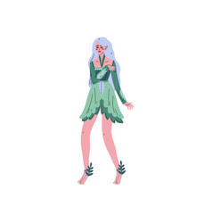 forest fairy beautiful long haired girl in green vector image