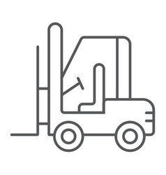 Forklift thin line icon automobile and cargo vector