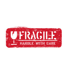 Fragile imprint handle with care cargo box vector