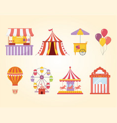 Fun fair carnival recreation tent carousel food vector