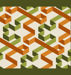 geometric maze color 3d seamless pattern vector image