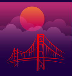Gold gate san francisco landscape vector