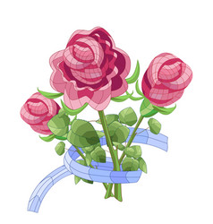 Graphic bouquet of pink roses with blue ribbon vector