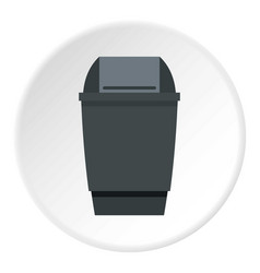 Grey flip lid bin icon circle vector