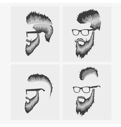 hairstyles with a beard and mustache wearing vector image