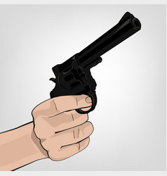 hand holding revolver vector image vector image