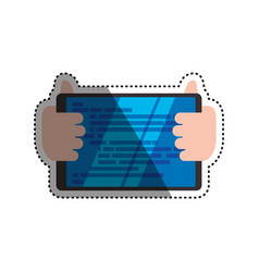 Hands holding tablet technology vector