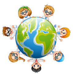 Happy childrens around the earth vector