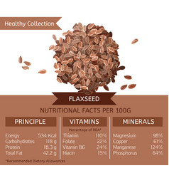 healthy collection flaxseed vector image