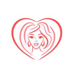 Heart shaped logo girl face vector
