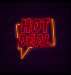 Hot deal neon banner vector