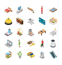 Hotel isometric icons pack vector