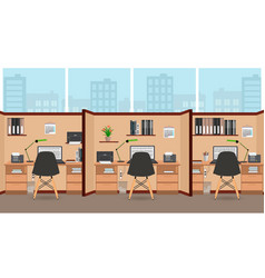 interior office room flat design with big window vector image