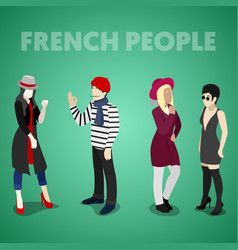 isometric french people in traditional clothes vector image