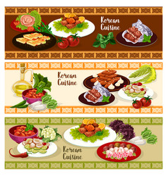Korean cuisine food banner for asian restaurant vector