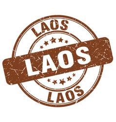 laos brown grunge round vintage rubber stamp vector image