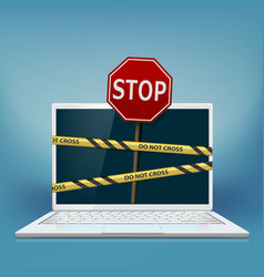 laptop screen with warning tape vector image