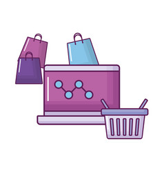 laptop with shopping icons vector image