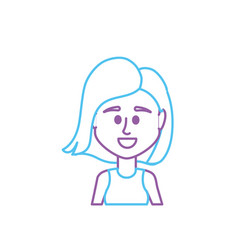 Line avatar woman with hairstyle and blouse design vector