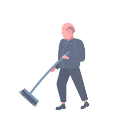 man cleaner sweeping floor cleaning service worker vector image