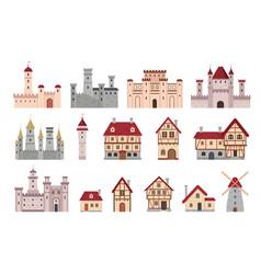 medieval buildings ancient european town vector image