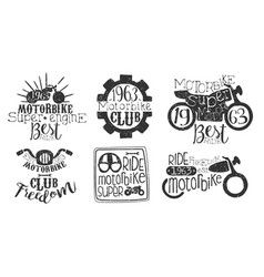 motorbike club retro labels set super motor best vector image