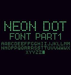 Neon dot font in green part 1 vector