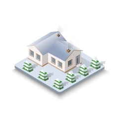 New Year Christmas 3d house vector image