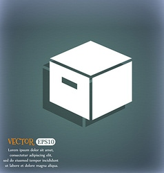 packaging cardboard box icon On the blue-green vector image