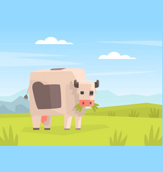 pixel cow grazing in meadow cute farm animals on vector image