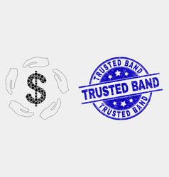 Pixelated dollar care hands icon and grunge vector
