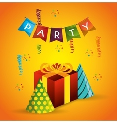Poster party gift hat pennant confetti vector