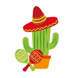 Potted cactus mexican hat maracas vector