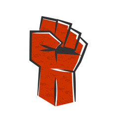 red clenched fist symbol revolution vector image
