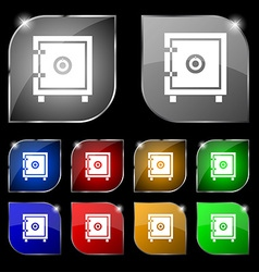 Safe money icon sign Set of ten colorful buttons vector image