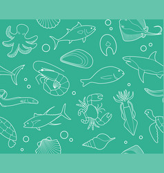 seamless background with outline pictures of vector image