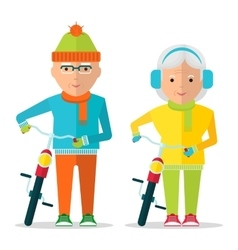 seniors couple in warm clothes vector image