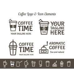 set coffee elements and restaurant line vector image