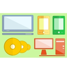 set digital objects on flat style vector image