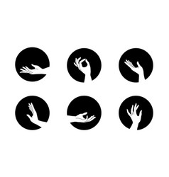 set female hand logos in minimal linear style vector image