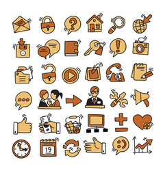 set of hand drawing website and internet icons vector image