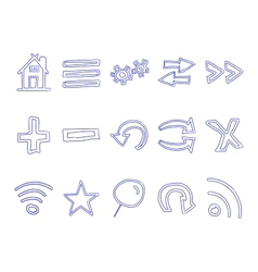 Set of hand drawn web icons and logo internet vector image