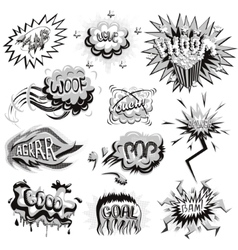 Set of monochrome comics icons vector