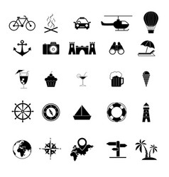 Set tour and travel outline icons trip vector
