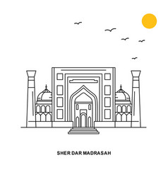 Sher dar madrasah monument world travel natural vector