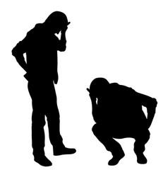 Silhouettes sad men vector
