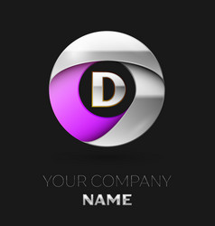 silver letter d logo in the silver-purple circle vector image