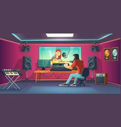 singer in recording studio woman in artist booth vector image